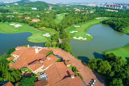 Aerial view of a beautiful green golf course.high angle view.