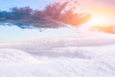 Snow mountain and beautiful colorful sky