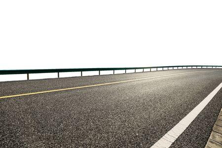 Empty asphalt road highway ground and white background. 版權商用圖片
