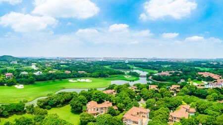 Aerial view of a beautiful green golf course in Shanghai,panoramic view.