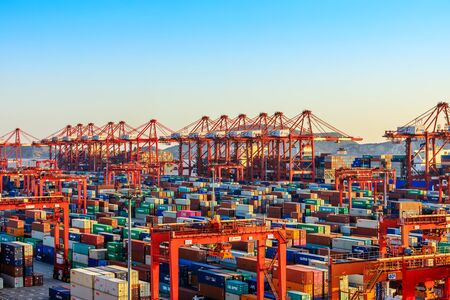 Shanghai, China - November 15, 2019: Shanghai Yangshan Deepwater Port Container Cargo Terminal, Shanghai has become one of the world's largest container port.