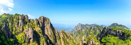 Beautiful Huangshan mountains landscape on a sunny day in China.