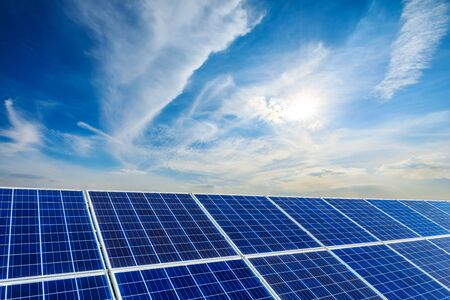 Photovoltaic solar power panel on sky background,green clean alternative energy concept.