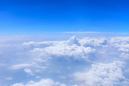 Skyline View above the Clouds from airplane,sky cloud landscape.