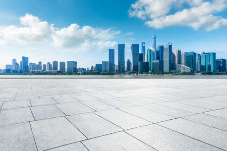 Empty floor and modern city skyline with buildings in Shanghai,China.