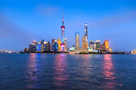 Beautiful Shanghai skyline and buildings at night, China.