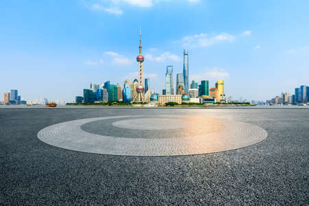 Empty square floor and city skyline and buildings in Shanghai,China.