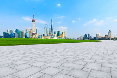 Empty square floor and city skyline with buildings in Shanghai,China.