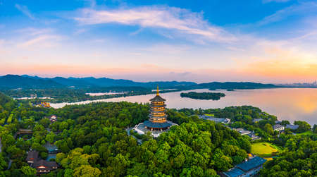 West Lake Leifeng Pagoda scenery in Hangzhou at sunrise,China.Aerial view.