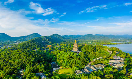 West Lake Leifeng Pagoda scenery in Hangzhou,China.Aerial view. 版權商用圖片