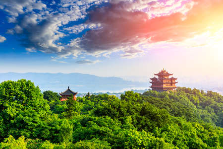 landscape of chenghuang pavilion in hangzhou west lake,China. Stock Photo