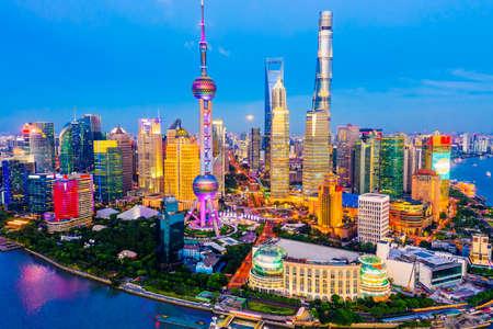 Aerial view of Shanghai skyline at night,China. 版權商用圖片