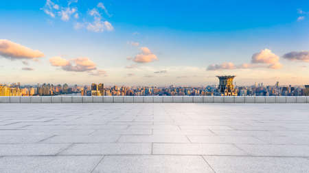 Empty square floor and Shanghai skyline with buildings at sunset, China.High angle view. 版權商用圖片
