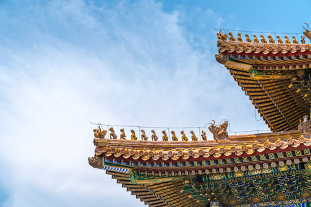 Close up view of an eaves of a traditional architectural building