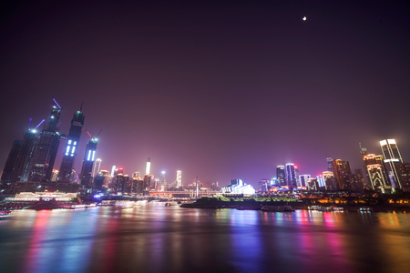 The city landscape at night in Chongqing, China Publikacyjne