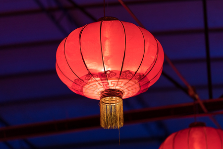 Chinese traditional red lantern at night Stock Photo