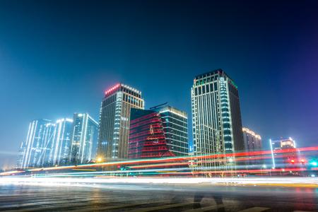 Night view of urban streets in zhengzhou, henan, China
