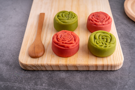 Red and green Mid-Autumn festival mooncakes