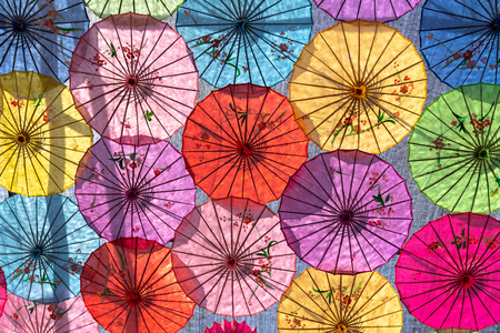 Oiled paper umbrellas made by ancient Chinese traditional techniques