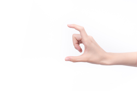 Hands measuring size of an invisible item