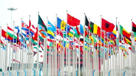 united nations: Unidos Banderas Foto de archivo