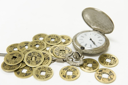 pocket watch and Chinese ancient currency photo