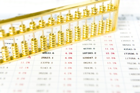Gold abacus and statistical report photo
