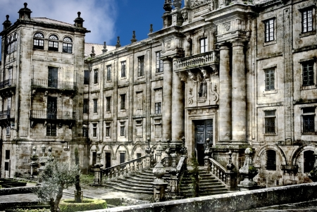 Facade of the Cathedral at Santiago de Compostela photo