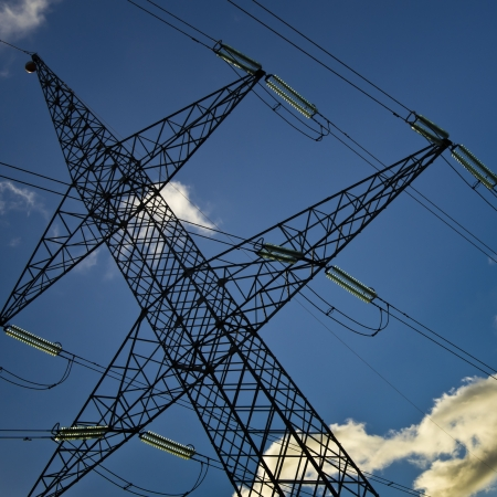 viewpoint: High voltage Tower, tilt viewpoint, clean blue sky