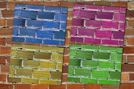 character traits: composition from a brick wall with four zones of different colors