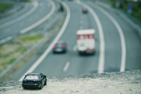 perspective of the car on the highway