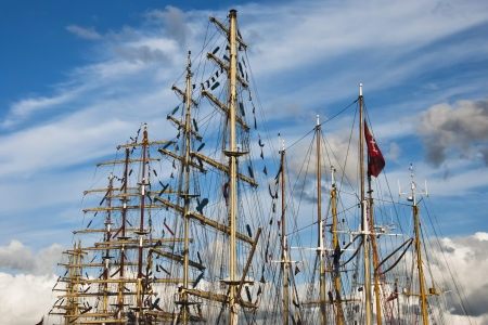 silhouette of sailing ships under blue sky photo