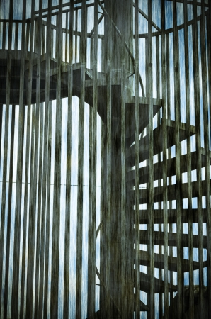 metalic spiral staircase in the Fire Escape photo
