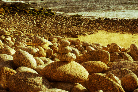 vintage shot of the Cantabrian coast   Spain   photo