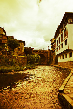 picos: View of the main bridge of Potes in Cantabria