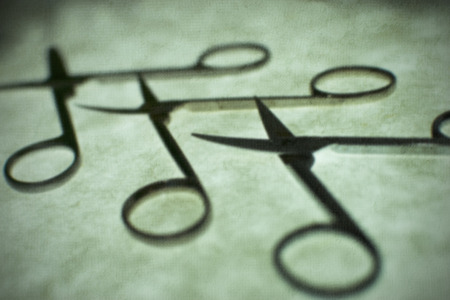 nail scissors: Nail scissors on green background