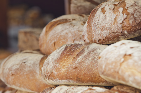 different types of freshly baked artisan bread photo