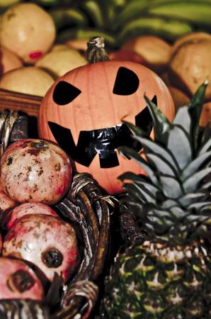 Halloween Pumpkin on the fruit at the market photo