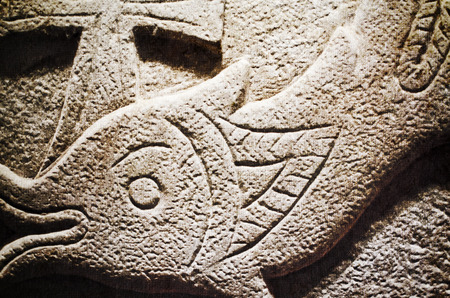 prehistoric fish: carved stone of a prehistoric fish.