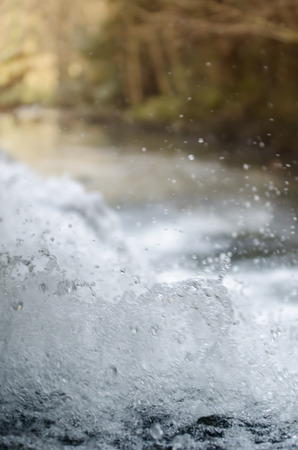 small waterfall close up in mountain stream photo
