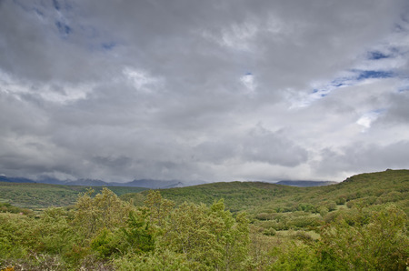 landscape in Asturias (Spain) with the picos de europe mountains in the background photo