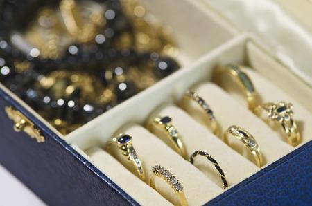 Gold jewelry in a jewelry box