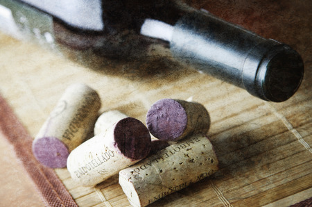 semisweet: Bottle of red wine with a cork
