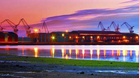 definite: Industrial view at night in shipyard of Ferrol, Spain. Stock Photo