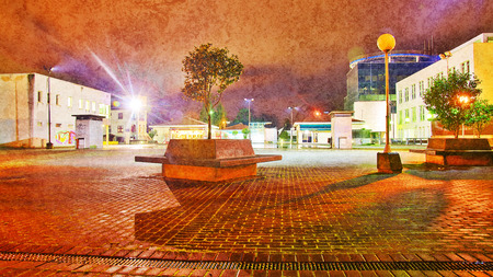 definite: Abstract view of Town Square at night.