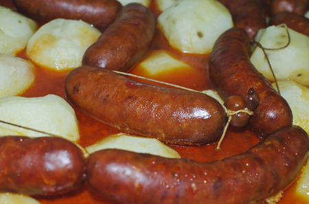 definite: Sausage with boiled potatoes , a part of traditional dish in Galicia Stock Photo