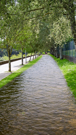 better days: Empty park water Walkway with green grass Stock Photo