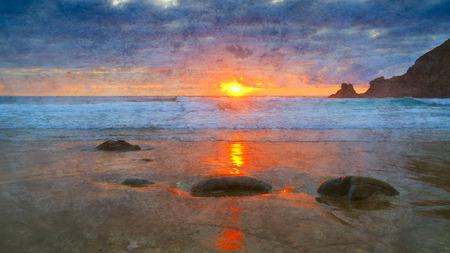 definite: Sunset on atlantic coast in Galicia - spain.