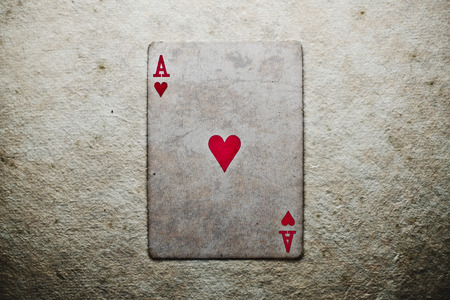 ace: Poker card - heart ace with texture.