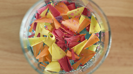 definite: There are color fine pencil-point pensils and shavings.